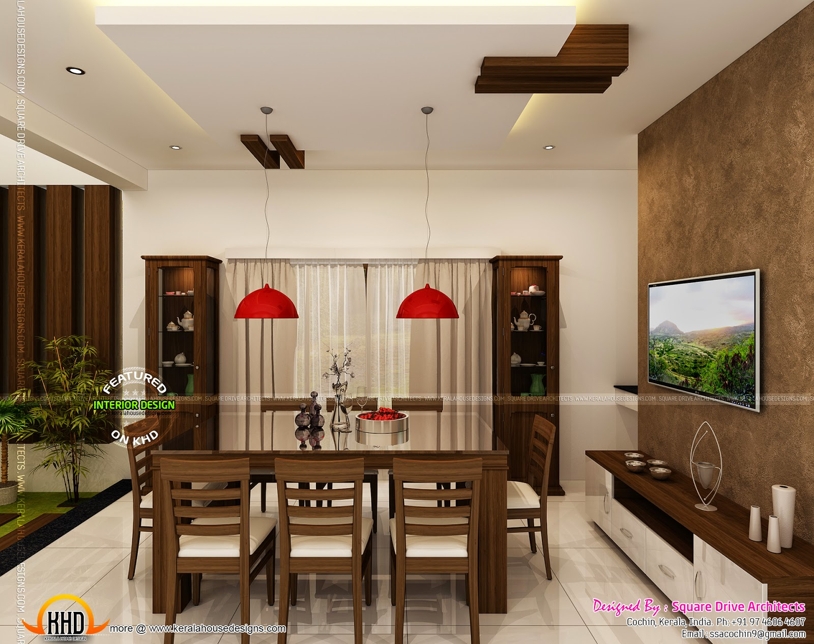 Luxury interior designs in kerala keralahousedesigns for Home dining hall design