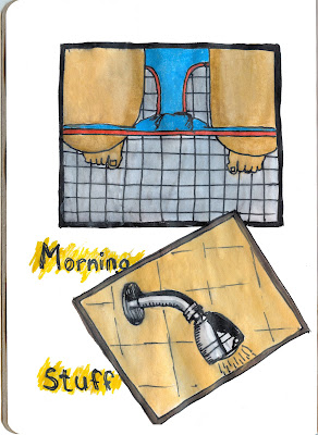 Morning Rituals - Pen and Ink with Watercolour by Ana Tirolese ©2012