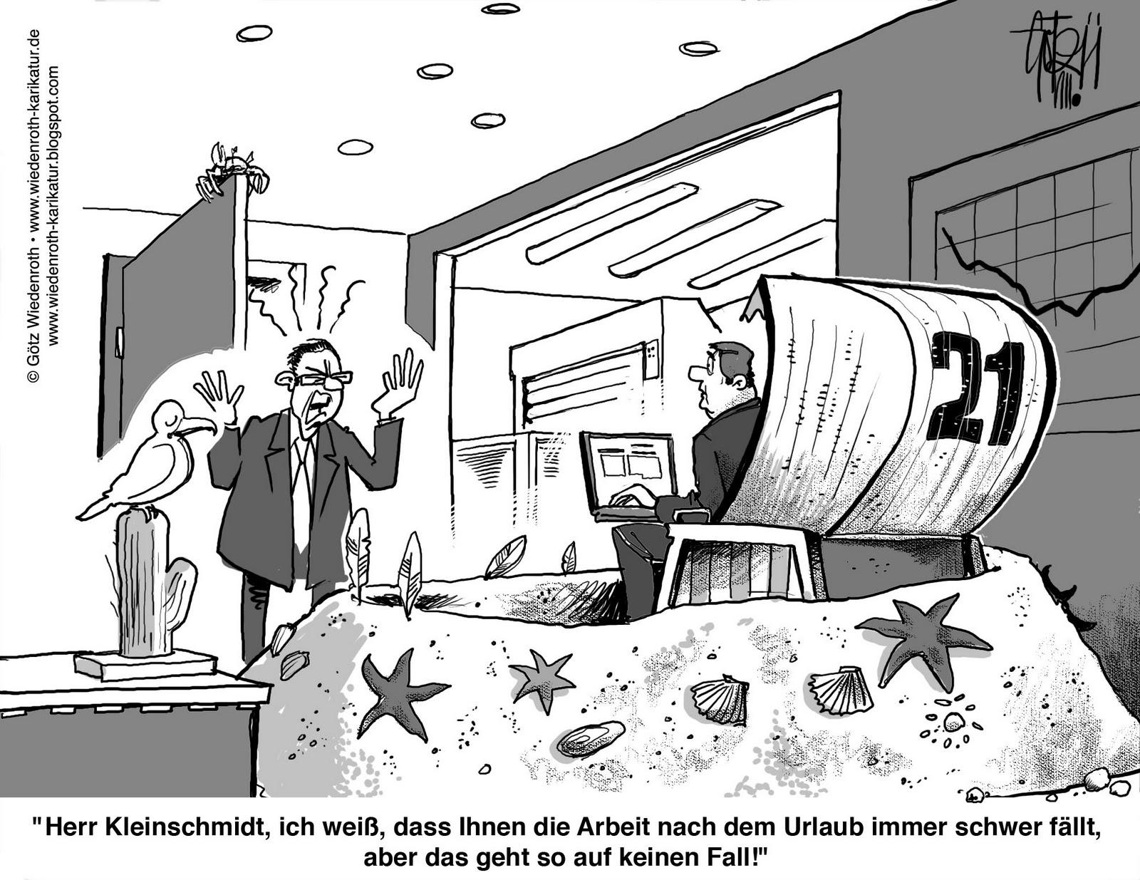 Strandkorb comic  Krankheitsbild Urlaubspsychose. | Karikamur-Karikatur! - Wiedenroth