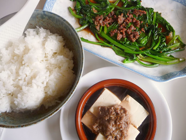 The Red Gingham: Steamed Tofu with Ground Pork