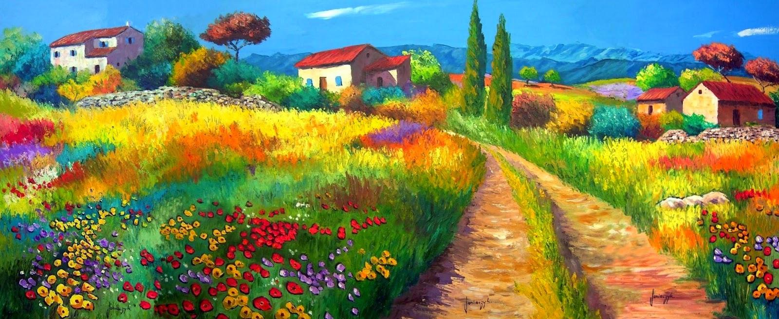 paisajes-con-flores-en-oleo-y-espatula