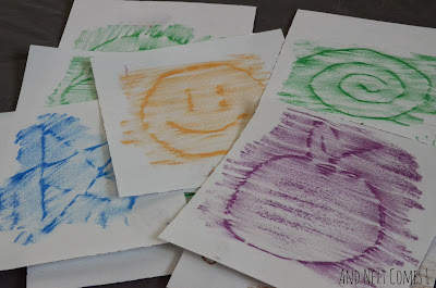 Some samples of the crayon rubbings from our homemade crayon rubbing cards from And Next Comes L
