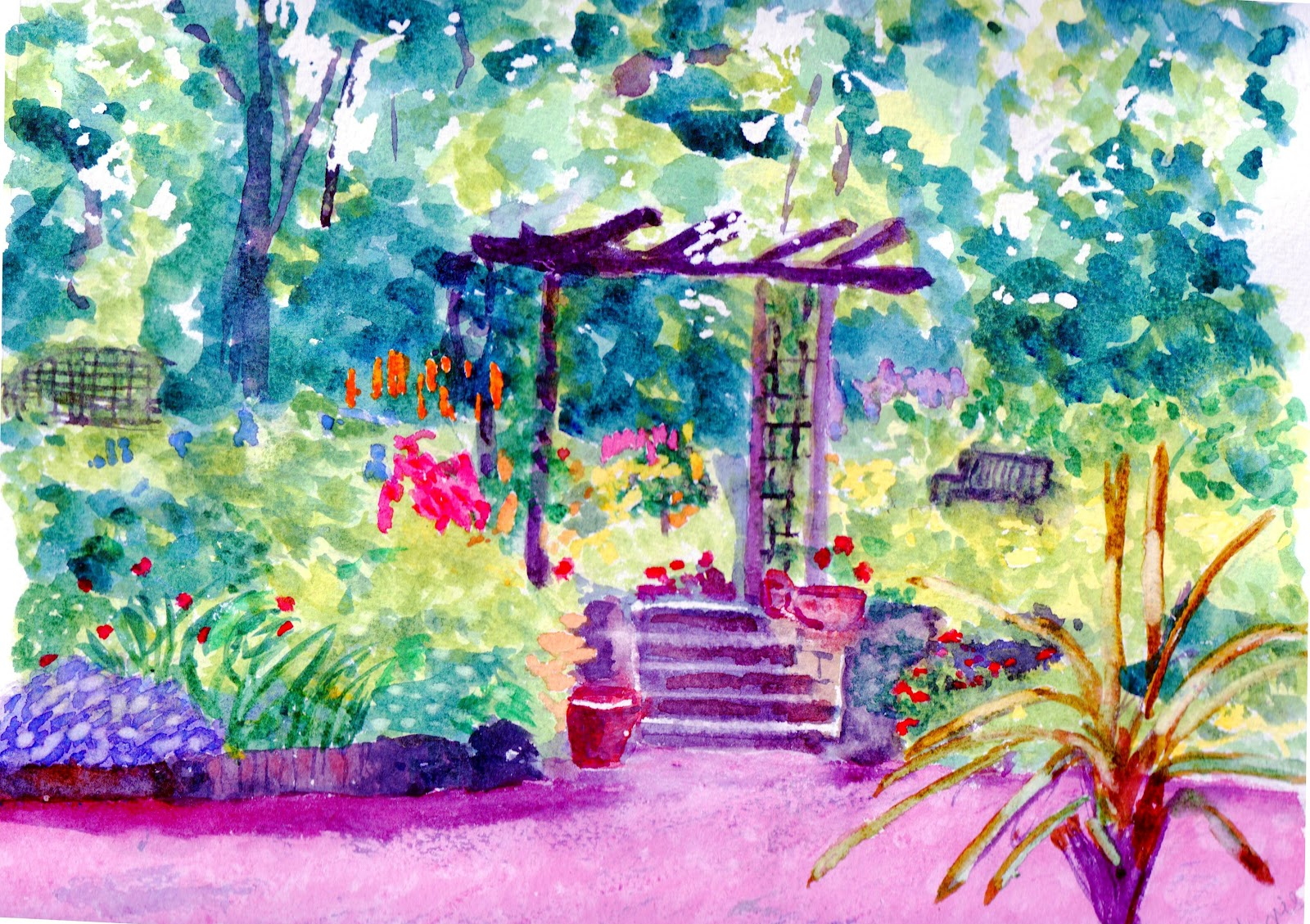 My house with garden drawing for kids - My Garden Drawing Pictures The Garden Yes This Is The Water Colour Painting I Use