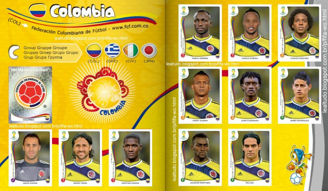 Album COLOMBIA Fifa World Cup BRAZIL 2014 LIVE COPA DO MUNDO Sticker Figurinha Download Lealtudo