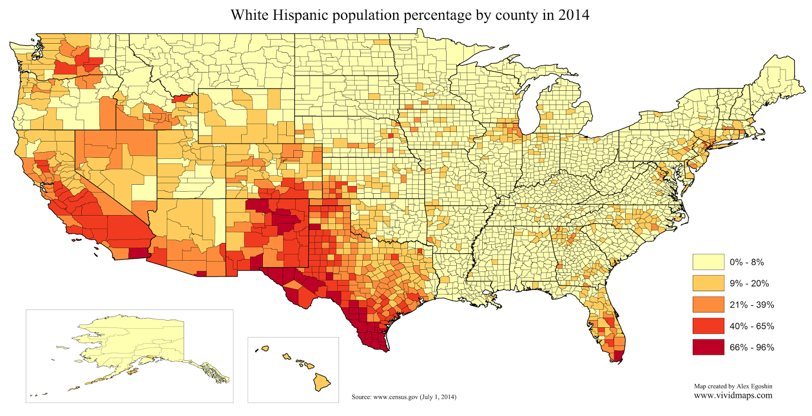 Hispanic Population Percentage By US County  X - Counties in us by population