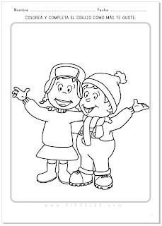 Pipo y su hermana Cuca en invierno. Actividad para colorear.