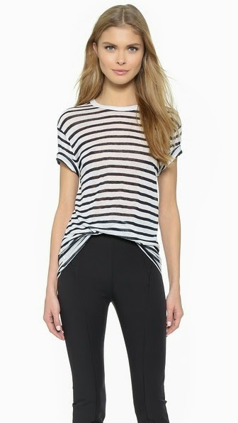 STRIPE RAYON LINEN SHORT SLEEVE TEE T BY ALEXANDER WANG