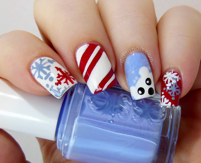 christmas nail art snowflakes - Blue Christmas Nails