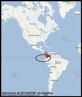 Ubicación de ECUADOR en América, Google Maps