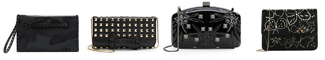 "Three of these clutches are from Valentino for $1,445 to $2,645 and one is from Saks Fifth Avenue for $89.99. Can you guess which one is the ""imposter""? Click the links below to see if you are correct!"