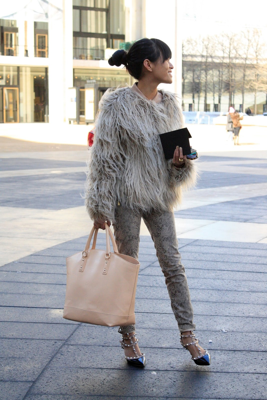 Fur and Valentino heels