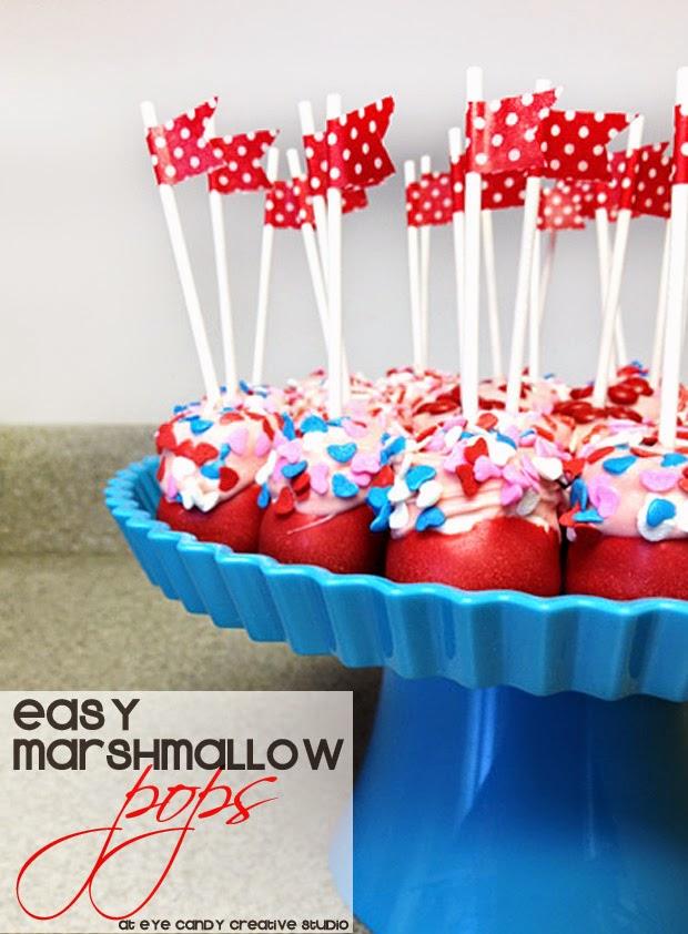 easy recipe, valentines day recipe, marshmallow pops, classroom party food idea