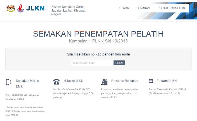 Semakan Penempatan Pelatih PLKN  Kumpulan 1 Siri 10/2013