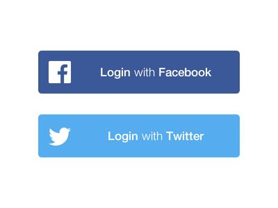 Social Login Buttons PSD