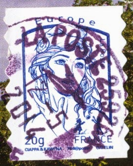 stamp, france, french guiana, 20g