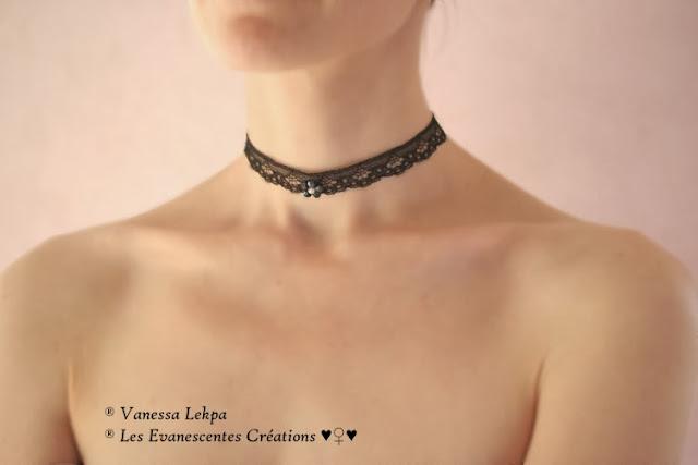 bijoux collier ras du cou gothique dentelle noir sexy femme victorien corset lingerie noire haut de gamme haute couture creation unique sur mesure