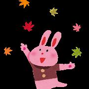 紅葉のイラスト「ウサギ」