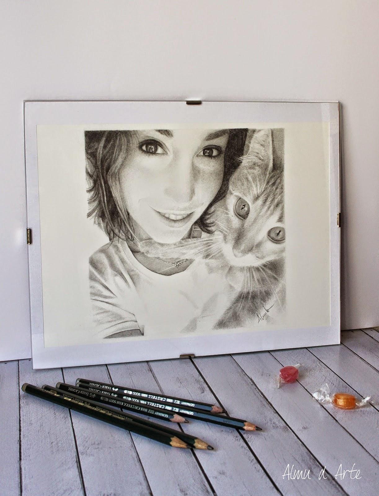 Retrato a lápiz de Alma Obregón