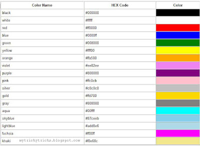 all color codes, html color codes, photoshop