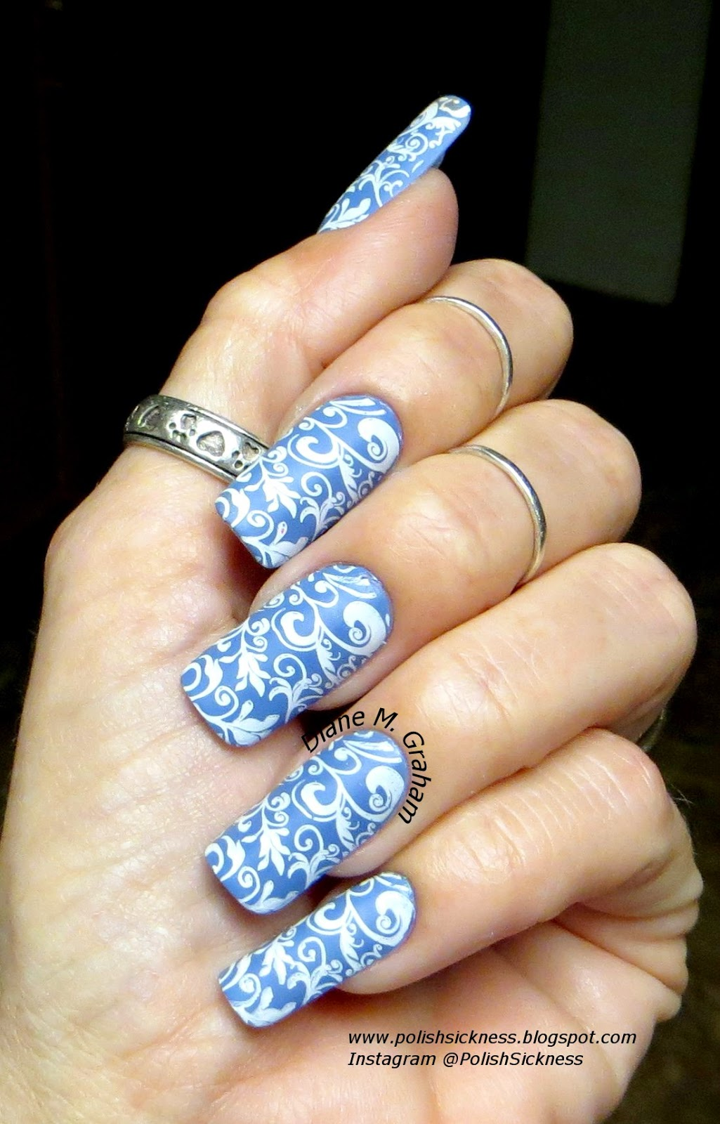 China Glaze Secret  Peri-Wink-Le, Mdu white, Sally Hansen Big Matte topcoat, Uber Chic UC1-02 stamp