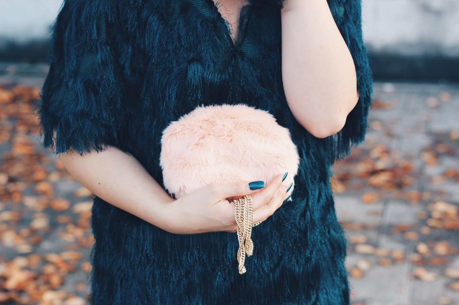 pink fur clutch primark