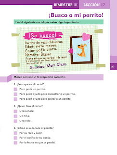 Apoyo Primaria Español 1er grado Bimestre 3 lección 17 ¡Busco a mi perrito!
