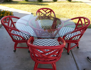 Red Shabby Chic Patio Set  *SOLD*