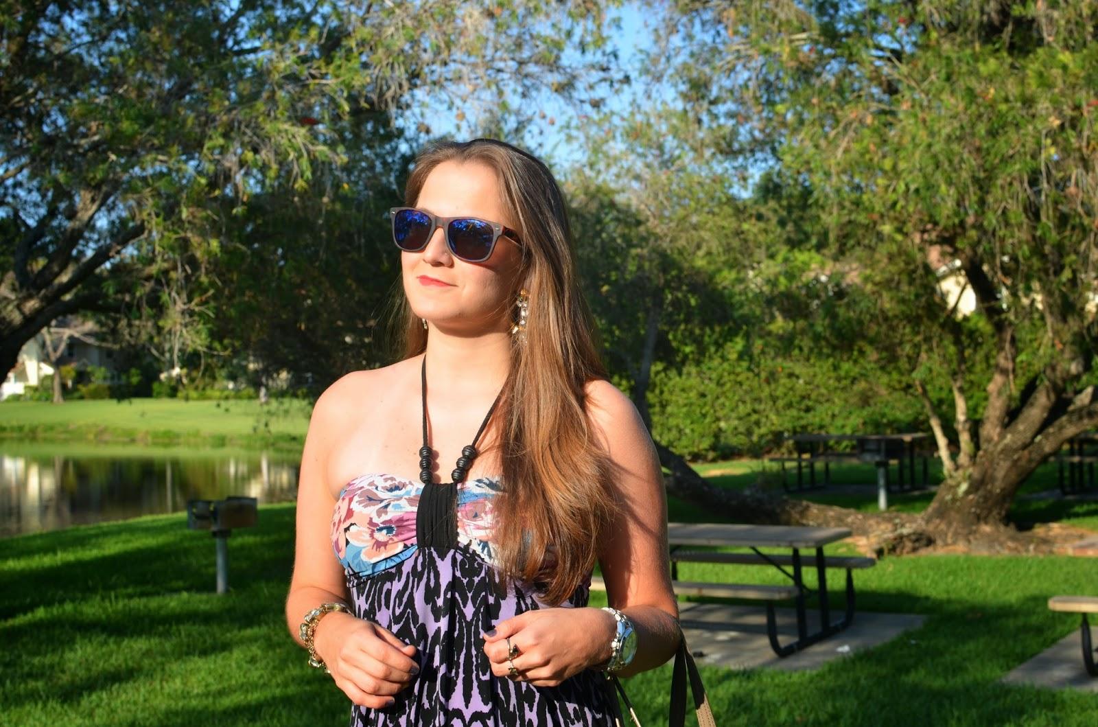 Floral maxi dress - studded bag - mirror wayfarers - Emma & Sophia