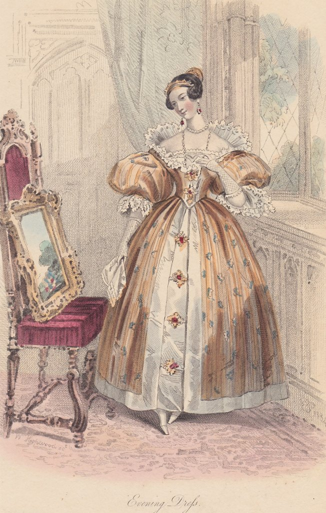 """A Dinner Dress and Morning Dress are featured for November. The sleeves  seem to have inflated hugely and are called """"imbecile"""" sleeves, believe it  or not!"""