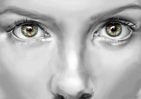 Innes McDougall pinturas digitais realistas fotografias modelos mulheres atrizes preto e branco Kate Beckinsale