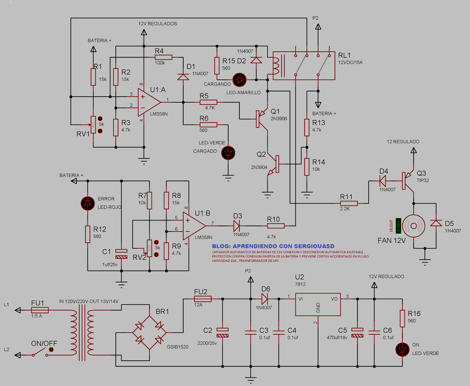 Circuito Ups 12v : Cargador automÁtico de baterÍas v a con trasformador
