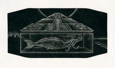 Necahual, mezzotint, 2012, by Printmaker Abe K