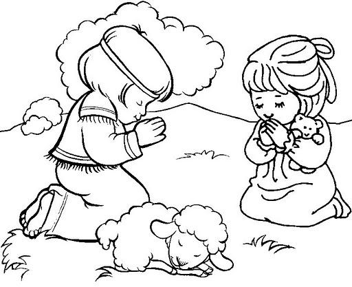 Colorear a niños rezando, dos niños y una oveja