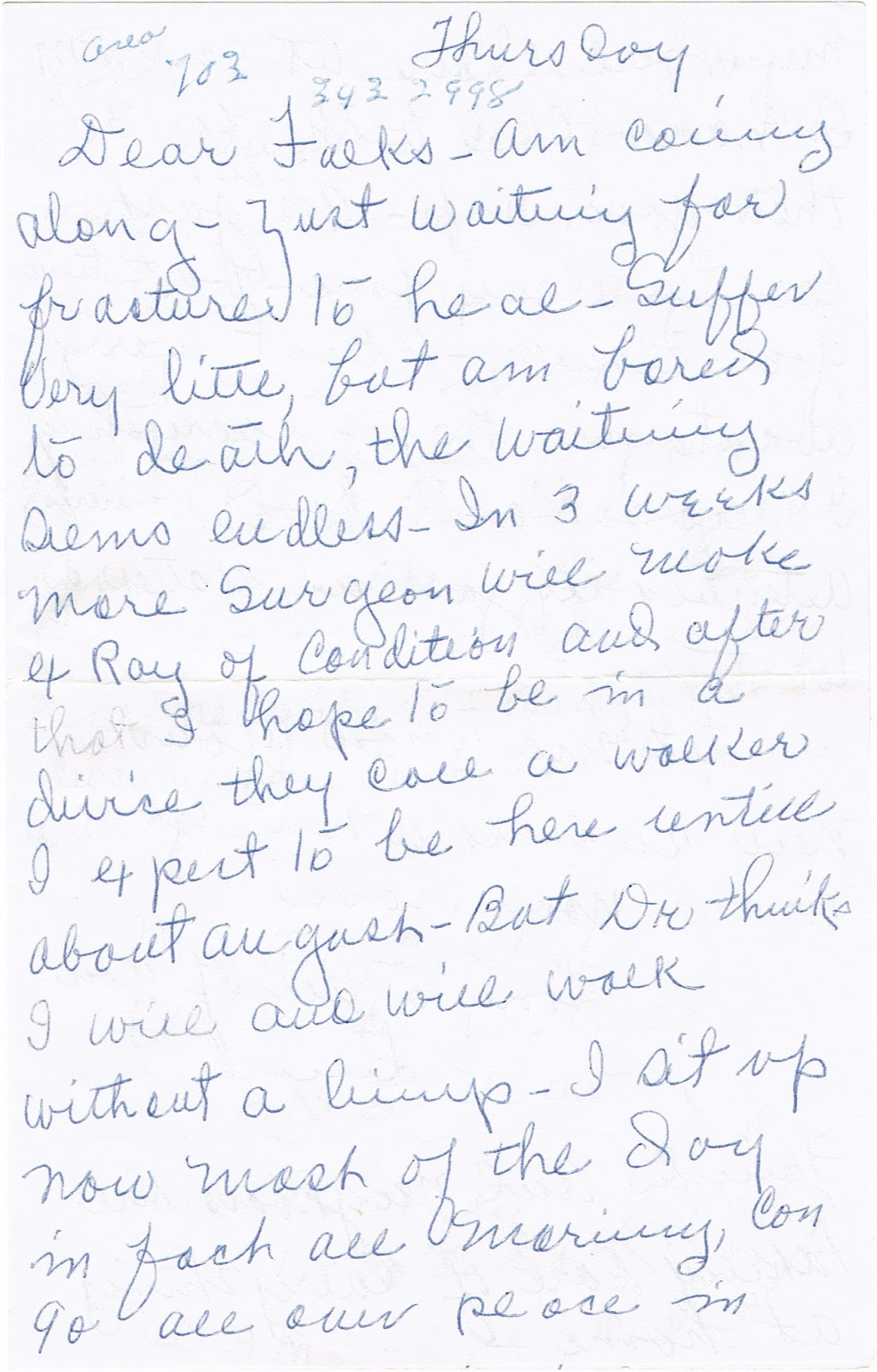 letter from retired former teacher to her brother describing her recuperation from a fall causing fracture to her hip