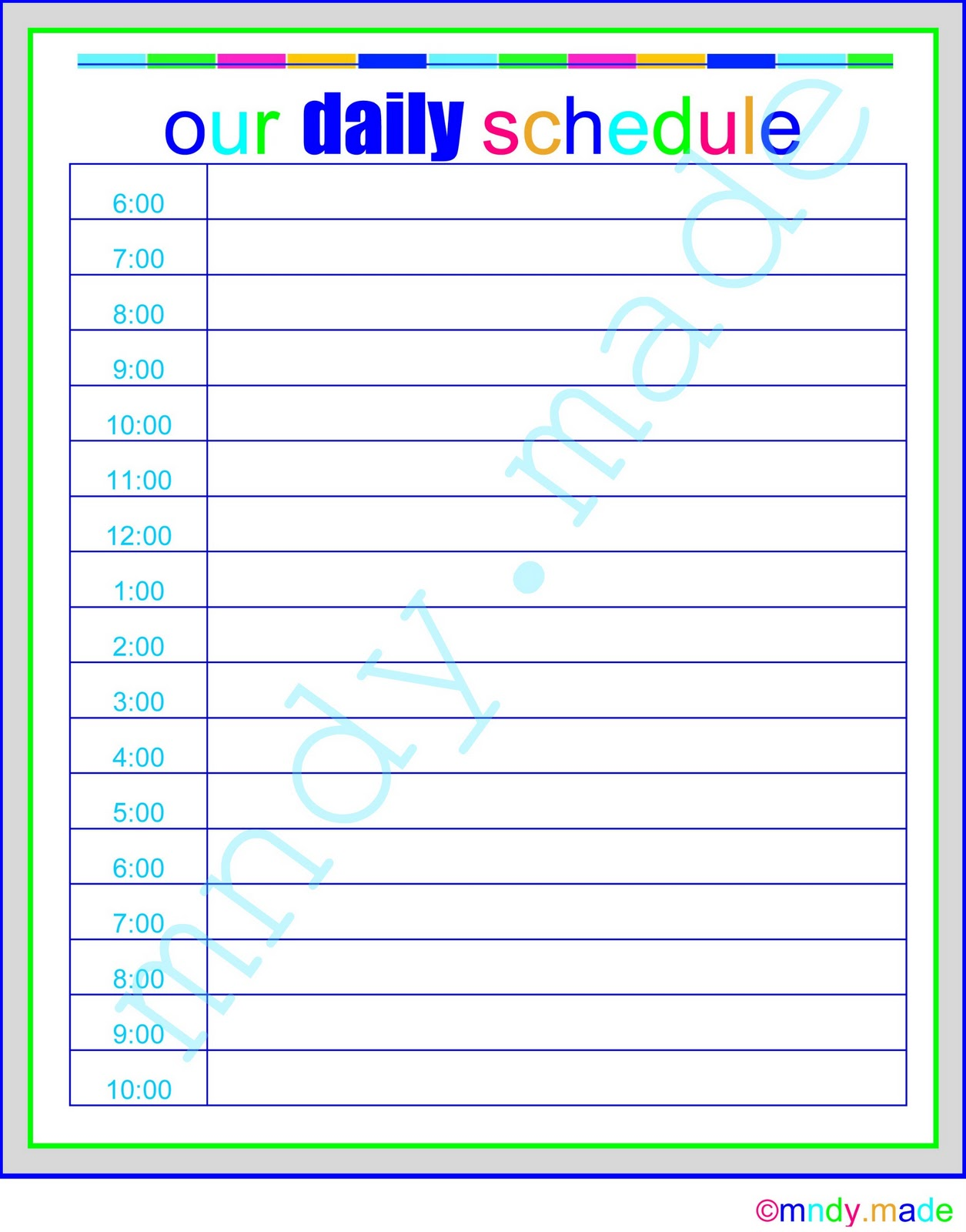24 Hour Daily Schedule Printable | Calendar Template 2016