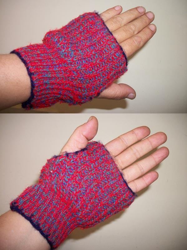 El trebol azul mitones hechos con las mangas de un sweater - Como hacer talon de calcetines de lana ...