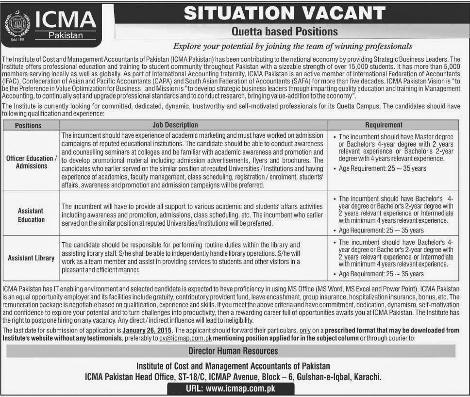 ICMA Jobs in The Institute of Cost and Management Accountants of Pakistan