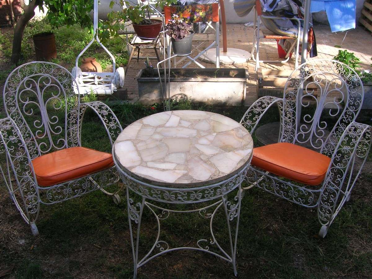Atractivo antiguo hierro forjado muebles de jard n para la for Juego de jardin de hierro antiguo