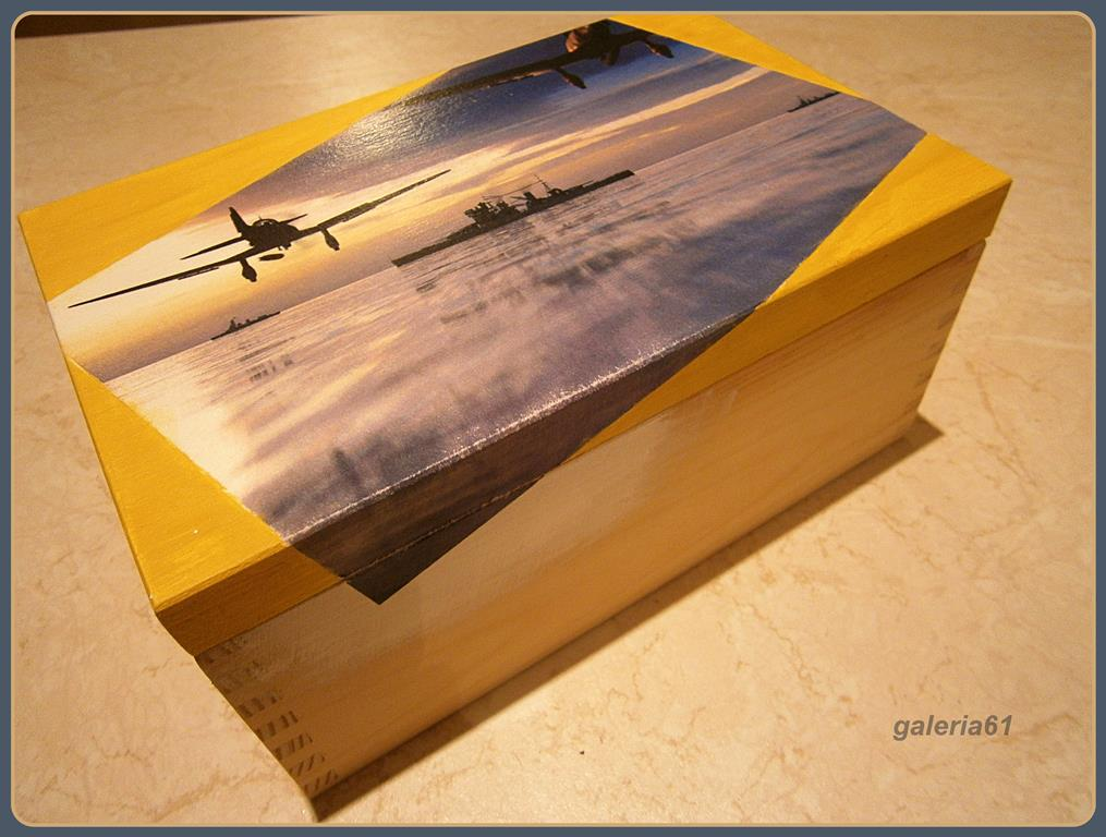 tutorial, skrzynka decoupage dla mężczyzny, samoloty