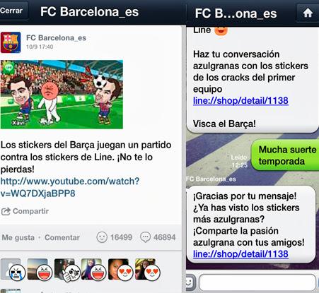 fc barcelona en app line