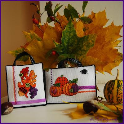 вышивка  Dimensions  00271, дименшинс осень, вышивка пинкип очень, вышивка хеллоуин, вышивка тыквы, вышивка листья, осенние листья вышивка, вышивка миниатюра осень, вышивка оранжевый и фиолетовый