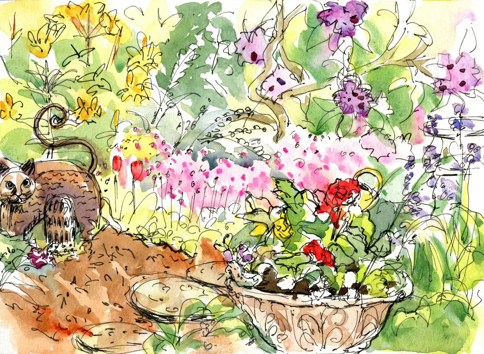 Garden drawing pictures - Barbara Mary S Lyrical Garden