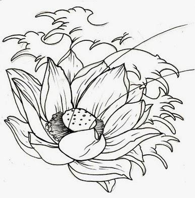 Lotus on waves tattoo stencil