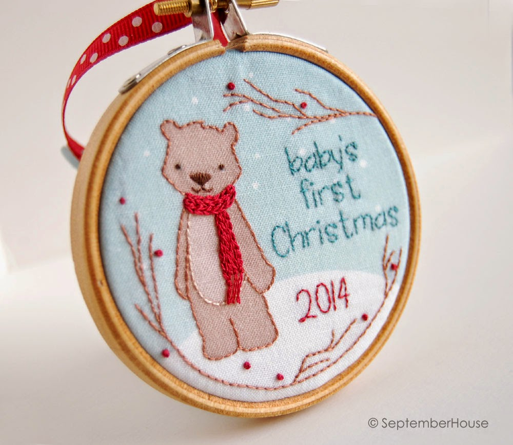 Baby's First Christmas 2014 Ornament Modern woodland Bear