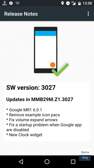 Xperia z4 marshmallow build no