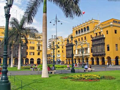 Lima Historical Beautiful Plaza Mayor Peru Hd Desktop Wallpaper