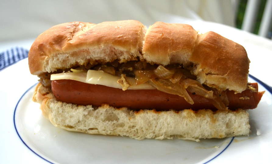 Cook and Her Books: Smoked sausage sandwich with beer-braised onions ...