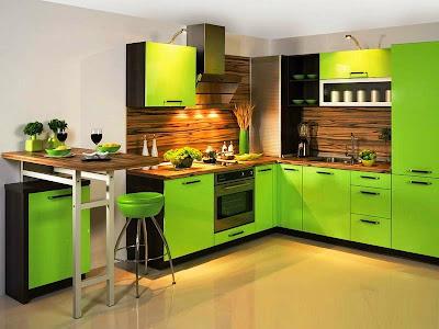 zöldszínű konyha