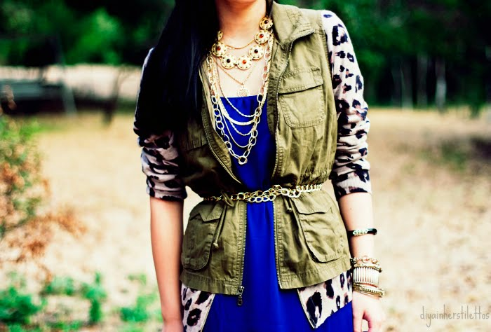 forever 21 maxi slip dress, old navy leopard sweater, old navy military vest, vintage gold necklace as belt, vintage layered gold chain necklaces found at garage sale and etsy, leopard vicini heels via buffalo exchange clearance, fashion, austin fashion blog, austin fashion, austin style, texas style, texas fashion, style blog