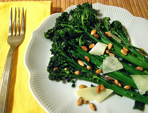 Plate of Parmesan Pine Nut Broccolini